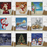 Wholesale Modern Curtains Designs - 13 Design Christmas Shower Curtain Santa Claus Snowman Waterproof Bathroom Shower Curtain Decoration With Hooks 165*180cm WX9-107