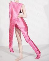 ingrosso stivali alti dell'alto tallone-DHL 2018 European Women Hip stivali moda sexy stivali alti alla coscia in raso fluorescente High heeled Man stage show scarpe cosplay punta a punta 10 cm
