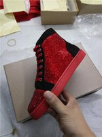 Alta calidad rhineston Red Bottom Sneakers Shoes gamuza cuero High Top Sneaker, hombres de moda, mujeres zapatos casuales, fiesta [Real Photo, With Box]