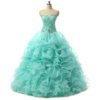 Wholesale Mint Quinceanera - New Cheap Mint Blue Quinceanera Dresses 2016 Ball Gown With Beaded Crystals Prom Sweet 16 Dress Stock Size 2-4- 6-8-10-12-14-16QC185