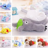 Wholesale Duck Teddy Cartoons - marie lovely cartoon plush toy Totoro Stitch Michey Marie cat cat donald duck Dumbo Tissue Box Cover Paper Towel Cases gift 1pc