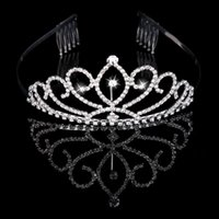 kız için gelin tacı toptan satış-Rhinestones Gelin Takı Ile gelin Tiaras Taçlar Kızlar Akşam Balo Parti Performansı Pageant Kristal Düğün Tiaras Aksesuarları # BW-T015