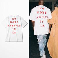 ingrosso corto di partito bianco-Maglietta Kanye West New NO MORE PARTIES IN LA Maglietta Maglietta bianca a maniche corte Tshirt BHYHDX0948XX