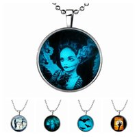 Wholesale Lighted Halloween Bat - Halloween night light man women necklace bat ghost dialogue round pendant long necklace kim kardashian jewelry bohemian necklace