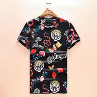 Wholesale Bird Printed Short Sleeve - 20178 NEW Hot Sale T-Shirt Men Shortsleeve Stretch Cotton Jersery Tee Men's Embroidery Tiger Printed Bird Snake Crew Collar Casual Tops Male