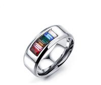 Wholesale gemstone ring online - High quality unisex gemstone rings Gay six color rainbow zircon rings titanium steel half color rings