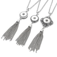 Wholesale Metal Tassel Charms Wholesale - Vintage Metal Long Tassel Snap Necklace fit 18mm 20mm DIY Snap Buttons Women Crystal Collar Choker Necklace