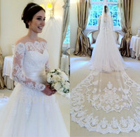 Wholesale Wedding Veils Ruched - 2016 Lace Wedding Dresses Without Veil Bateau Illusion Long Sleeves Wedding Dress Sweep Train Back Covered Button Sash Ribbon Bridal Gowns
