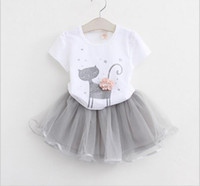 Wholesale Leader T Shirt - Bear Leader Girls Clothing Sets 2016 Brand Girls Clothes White Cartoon Short Sleeve T-Shirt+Veil Dress 2Pcs Children Clothes