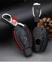 Car-styling Premium Leather 3 Buttons Remote Key Holder Capa para Mercedes Benz A B C E S GLK GLA AMG All Series