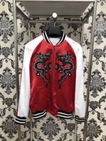 Wholesale Mens Casual Slim Dragon - 2017 winter brand Fashion Black dragon embroidery silk coat jacketS Long sleeve Mens Casual Bomber Jacket Men Overcoat
