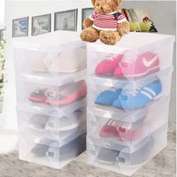 Wholesale Transparent Shoe Storage Boxes Wholesale - 20pcs lot Transparent Shoe Boxes Clear Plastic Storage Box Packaging Box For Women Kids
