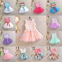 Wholesale Girls Denim Tutu Skirt - 13 Design Girl flower bowknot denims lace Dress DHL princess party paillette Print Rainbow colors sleeveless tutu Dress skirt B001