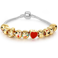 Wholesale European Charm Bracelet Kids - 4 Styles DIY Beads Xmas Enamel Emoji Charm Bracelets For Kids Children Bangles For Women Pandora Style Jewelry
