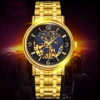 Wholesale Folding Maps - WEIGUAN Automatic Mechanical Waterproof Gold Watch for Man Casual Luxury Brand Sport Watch Fashion Global Map Dial Skeleton Watch for Mens