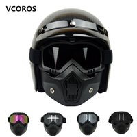 Wholesale Helmet Motorcycle Beon - wholesale Hot Sales BEON Modular Mask Detachable Goggles And Mouth Filter Perfect for Open Face Motorcycle Half Helmet or Vintage Helmets