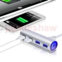 Wholesale House Hub - USB3.0 HUB 4 Ports Aluminum Housing Charging Hub High Speed For Macbook Pro Mac PC Laptop Computer Mobile Phone