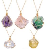ingrosso pietre preziose-Quarzo cristallo naturale collana di pietra pendente della pietra preziosa donne collana irregolare donne quarzo druzy grappoli geode gioiello gioielli di guarigione