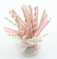 Wholesale Drinking Straws Mix - 125pcs(5bags)pink gold striped mixed kids birthday wedding decorative party decoration event supplies drinking Paper Straws