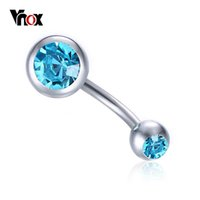 Wholesale Nail Dangle Gold - Vnox Navel Nail 2017 New Reverse Belly Button Ring Dangle Navel Bar Body Jewelry Piercing Simple CZ Stones