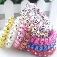 bracelets grande taille achat en gros de-Mélanger la couleur léopard grande taille bagues de cheveux fil de téléphone élastiques de cheveux