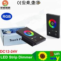 Wholesale 12 Dc Dimmer Switch - TM08U DC 12-24V Wall-mounted Touch Panel Dimmer Controller Wall Switch Full-color RGB dimmer for 3528 5050 RGB LED Strip +US Standard