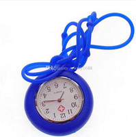 Wholesale Hanging Watch Necklace - New Silicone Colorful Prints Medical Nurse Watch Cute Candy Color Fob Watch Doctor Watch Hanging Watches necklace watch
