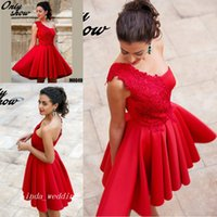 2017 Red Robe Dentelle Cocktail Dress One Shoulder Lace Short Prom Party  Dress Formal Event Gown Plus Size vestidos de coctel rojos aff4f0a15fc4