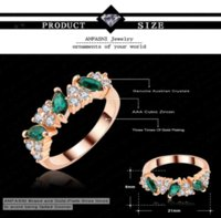 Wholesale Cheap Ring Real - Luxury Imitation Emerald Ring Real 18K Rose Gold Plated Genuine SWA Stellux Lovers Jewelry Ri-HQ1133 Cheap jewelry making ring