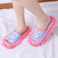 4 cores 2pcs / pair Floor Cleaning Slippers Smile Face Chenille Lazy Shoes Home Floor Cleaning Mop Dust Cleaner Slippers CCA7207 50pair