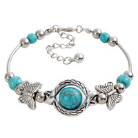 Wholesale Butterfly Turquoise Silver Bracelet - wholesale free shipping Turquoise bracelets fashion jewelry green turquoise butterfly charm bracelets retro bracelet silver plated TB0003