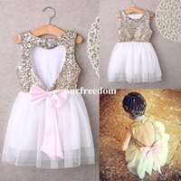 Wholesale Cheap Mini Christmas Lights - Cheap Pink Tulle Sequins Flower Girls Dresses 2018 Hollow Back With Bow A Line Kids Pageant Gown First Communion Dresses Custom Made