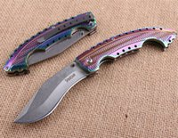 Wholesale cold steel 57hrc resale online - COLD STEEL Spartan Colored titanium dogleg dog leg knife Folding Pocket Camping Survival Knife Xmas knife gift knives freeshipping
