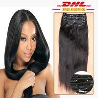 ingrosso virgin hair gray color-120g grigio dritto clip nelle estensioni dei capelli umani brasiliani capelli slove prodotti estensioni ombre colore clip nei capelli