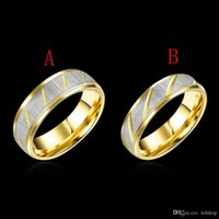 Wholesale Gold Plated Rings Mix - Mix 2 Style 4 Size Simple Punk Style 316L Stainless Steel Gold Plated Couple Ring Wedding Rings Engagement Rings Valentines Gift