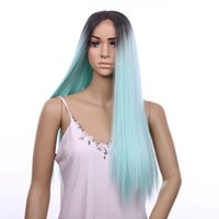 Wholesale Hair Color Chocolate - Hair wigs Lace Front Wigs ombre chocolate Black& Mint Green 20inch Straight long hair for women