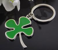 anahtarlık iyi toptan satış-Şanslı yonca anahtarlık Yeşil yapraklar anahtarlık yaratıcı hediye araba anahtarlık Bir tür iyi dileklerimle anahtarlık