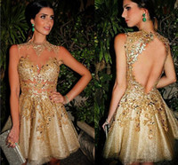 Wholesale evening dresses applique mini resale online - 2017 Sexy Gold Short Cocktail Dresses Sheer Neck Sleeveless Appliques Beaded Tulle Illusion Mini Open Back Evening Party Dress Prom Dresses