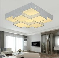 Wholesale Ceiling Lights Cube - Super bright Dimmable Cube modern ceiling lights 4 6 9 heads for living room bedroom 28-48W acrylic+aluminum home ceiling lamp