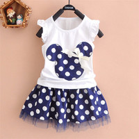 Wholesale Sleeveless Spandex Suits - 2016 new t shirt +Skirt baby kids suits 2 pcs fashion girls clothing sets minnie children clothes bow tops suit Dresses 2-7T