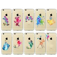 Wholesale Designed Cases For Iphone 5c - Watercolor Art Design Transparent TPU Case For Capinhas iphone 7 6 6s Plus 5S SE 5C 4S Cartoon Animals Minnie Mickey Mouse Para