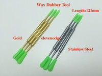 Wholesale dabber tool vaporizer resale online - Gold and Silver colors Wax dabber tool with silicone caps mm mm mm wax tool for Wax dry herb vaporizer pen