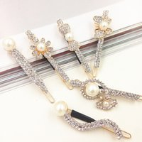 Wholesale sterling hair clips for sale - 2016 New Fashion Long bow Rhinestone Hair Clip Fashion stones Hair Jewelry For Women Crystal Hair Accessories