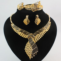 Wholesale Silver Gold Plated Jewelry Rings - African Jewelry 18K Gold\Silver Plated Rhinestone Statement Necklace Bracelet Ring Earring Fashion High Quality Jewelry Sets