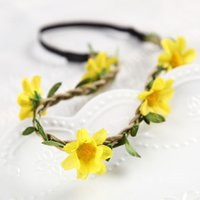 Mulher Beach Artificial Flower Headband Garland Crown Wedding Bride Bridesmaid Hair Wreath Daisy Floral Headdress ZA4244