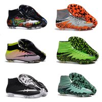 Charlin 2016 Nouveaux Bottes Hypervenom Football Haltères Hypervenom Phantom II FG Soccer Cleats Hommes Outdoor Soccer Shoes White Rainbow