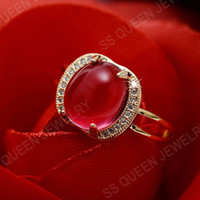 Wholesale Red Tourmaline Rose Gold Ring - Engagement Hot sale 18k rose gold plated oval cabochon natural ruby red tourmaline ring for women