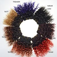 переплетение человеческих волос ombre вьющиеся бразильские оптовых-8 дюймов короткие ломбер бразильский человеческих волос ткет 8А класс девственные вьющиеся волосы пучки 50 г/шт два тона двойной уток расширения 3 шт.