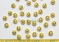 ingrosso anello giallo della resina-250pcs resina Candy Smile faccia Cabochons 11mm Decorazione cellulare, forcina, anelli DIY giallo o rosa D25