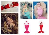 Wholesale Mermaid Crochet For Babies - Baby Crochet Christmas photo props Cute Mermaid Santas sleeping bag sets Pirate Rabbit 2pc sets costume for Newborns photo props Xmas gifts